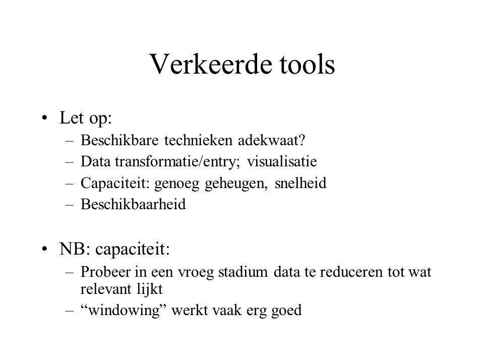 Verkeerde tools Let op: NB: capaciteit: