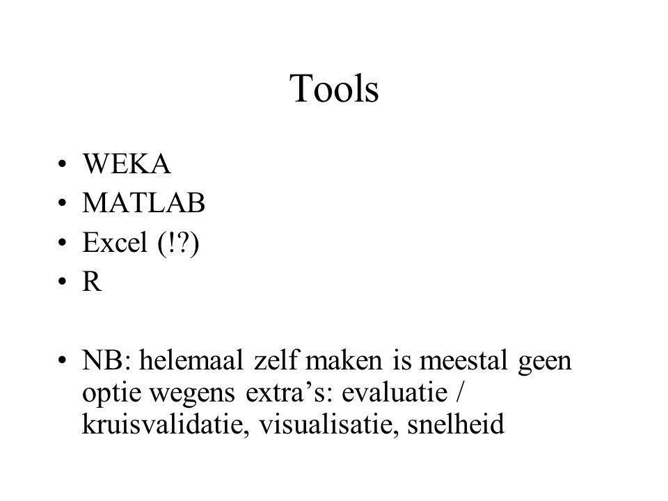 Tools WEKA MATLAB Excel (! ) R