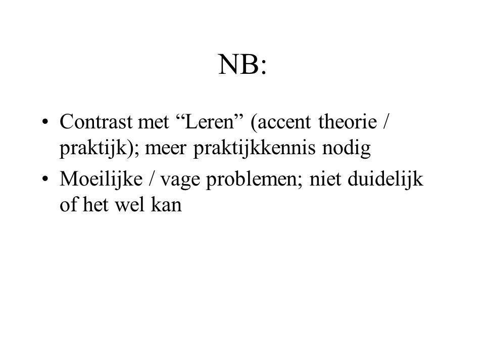 NB: Contrast met Leren (accent theorie / praktijk); meer praktijkkennis nodig.