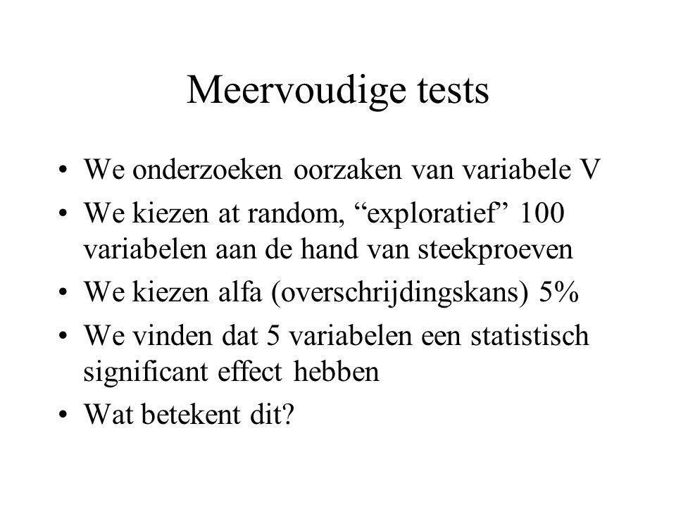 Meervoudige tests We onderzoeken oorzaken van variabele V