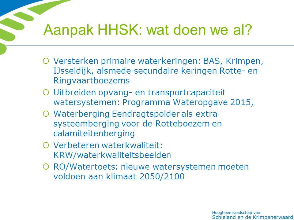 Aanpak HHSK: wat doen we al