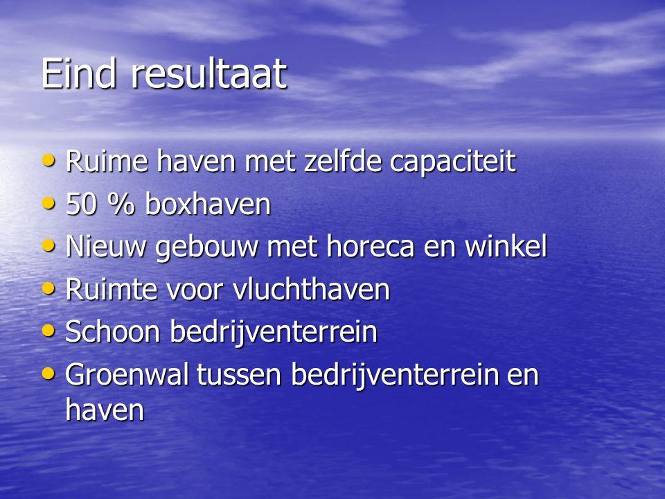 Eind resultaat Ruime haven met zelfde capaciteit 50 % boxhaven