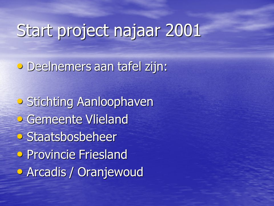 Start project najaar 2001 Deelnemers aan tafel zijn: