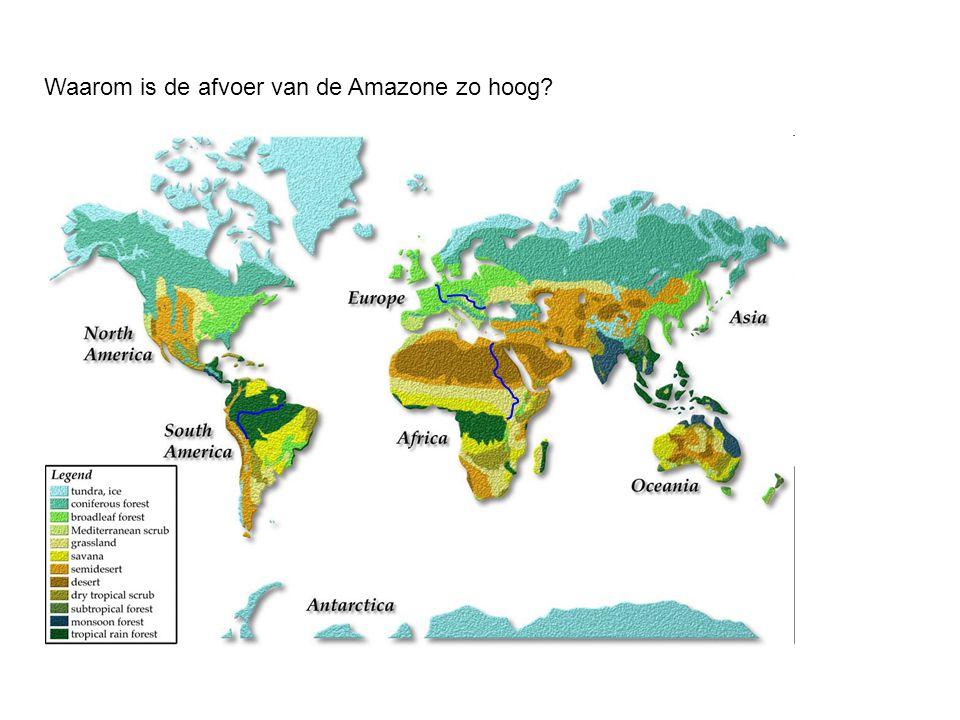 Waarom is de afvoer van de Amazone zo hoog