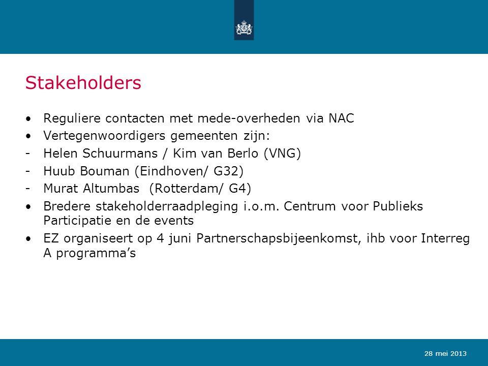Stakeholders Reguliere contacten met mede-overheden via NAC