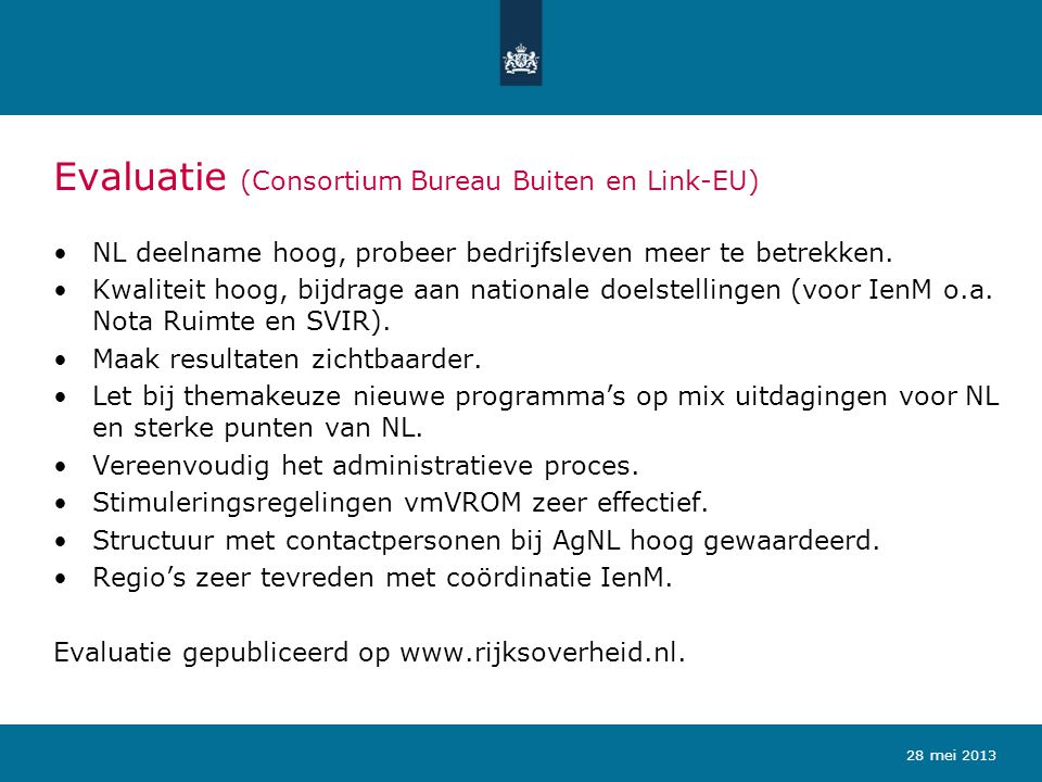 Evaluatie (Consortium Bureau Buiten en Link-EU)