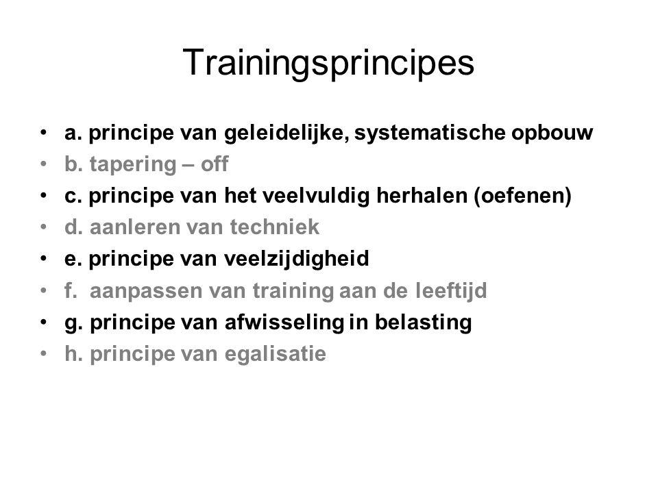 Trainingsprincipes a. principe van geleidelijke, systematische opbouw