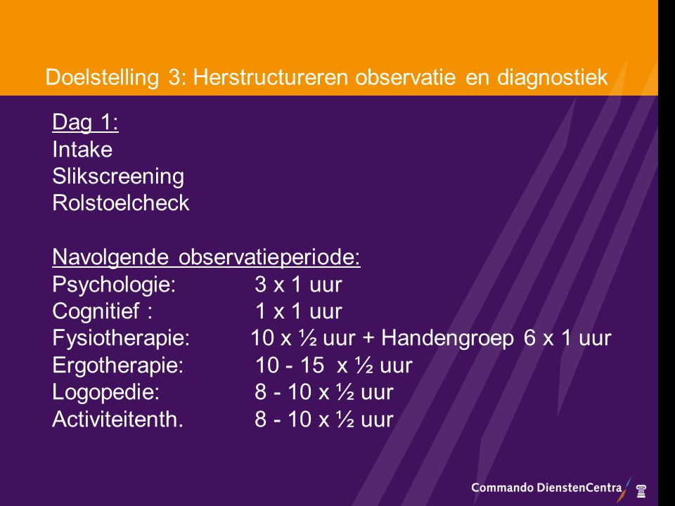 Doelstelling 3: Herstructureren observatie en diagnostiek
