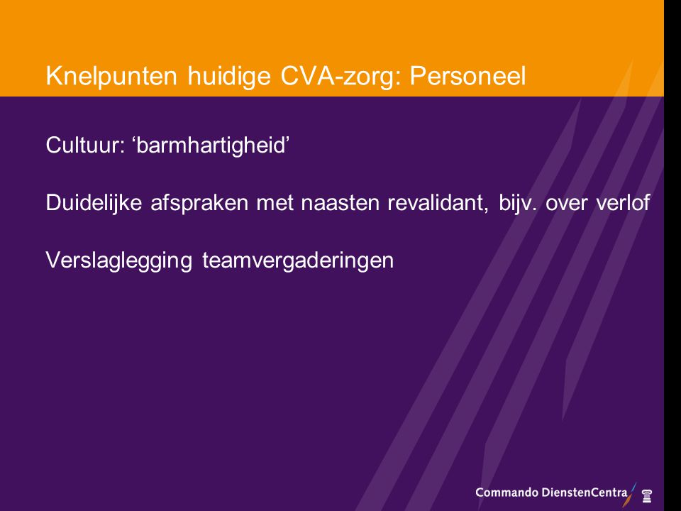 Knelpunten huidige CVA-zorg: Personeel