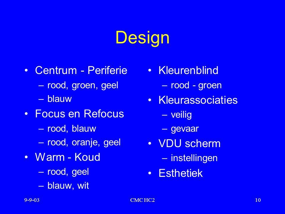 Design Centrum - Periferie Focus en Refocus Warm - Koud Kleurenblind