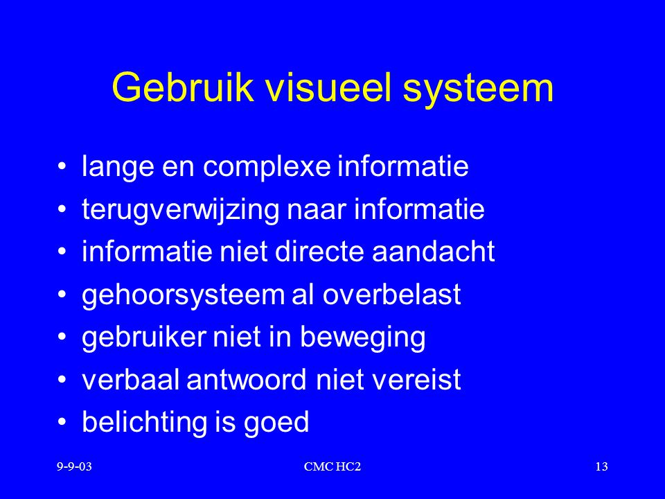Gebruik visueel systeem