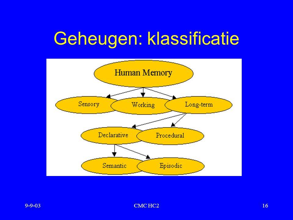 Geheugen: klassificatie