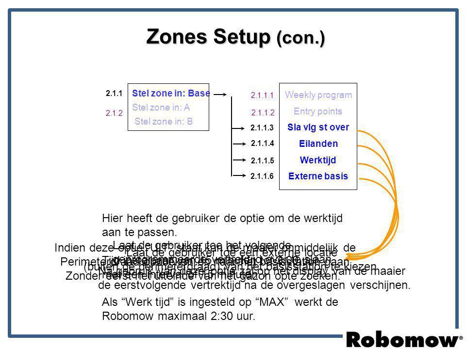 Zones Setup (con.) Hier heeft de gebruiker de optie om de werktijd