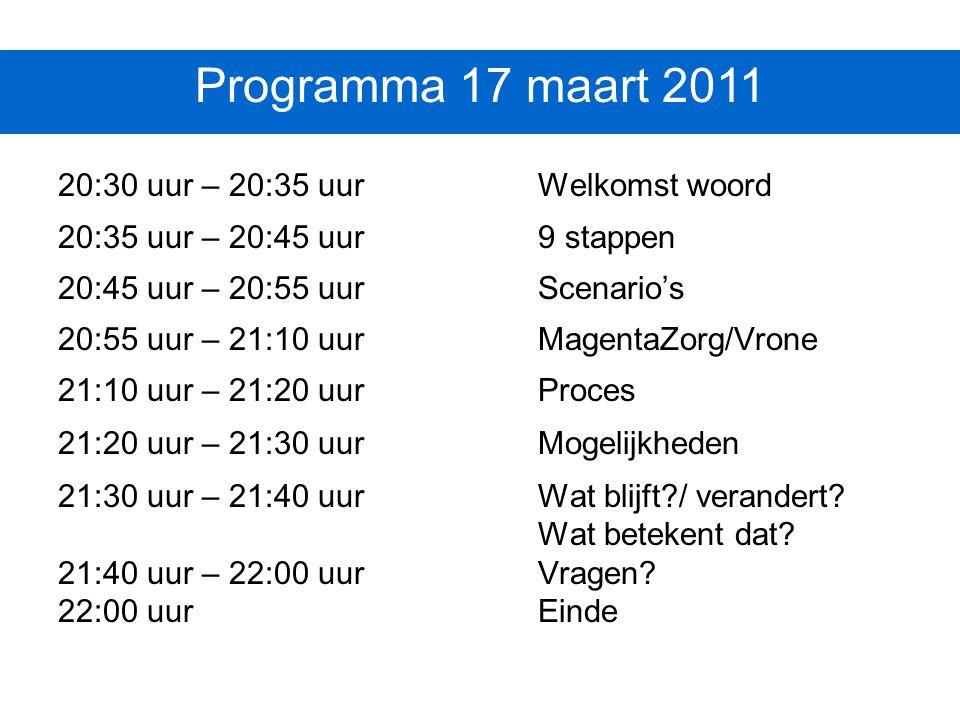 Programma 17 maart 2011 20:30 uur – 20:35 uur Welkomst woord