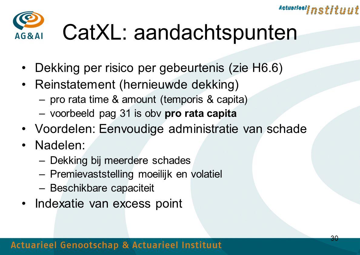 CatXL: aandachtspunten