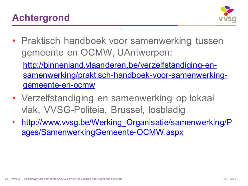 Achtergrond Praktisch handboek voor samenwerking tussen gemeente en OCMW, UAntwerpen: