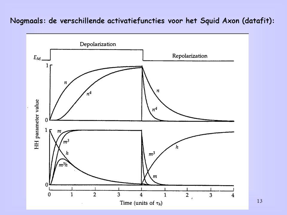 Nogmaals: de verschillende activatiefuncties voor het Squid Axon (datafit):
