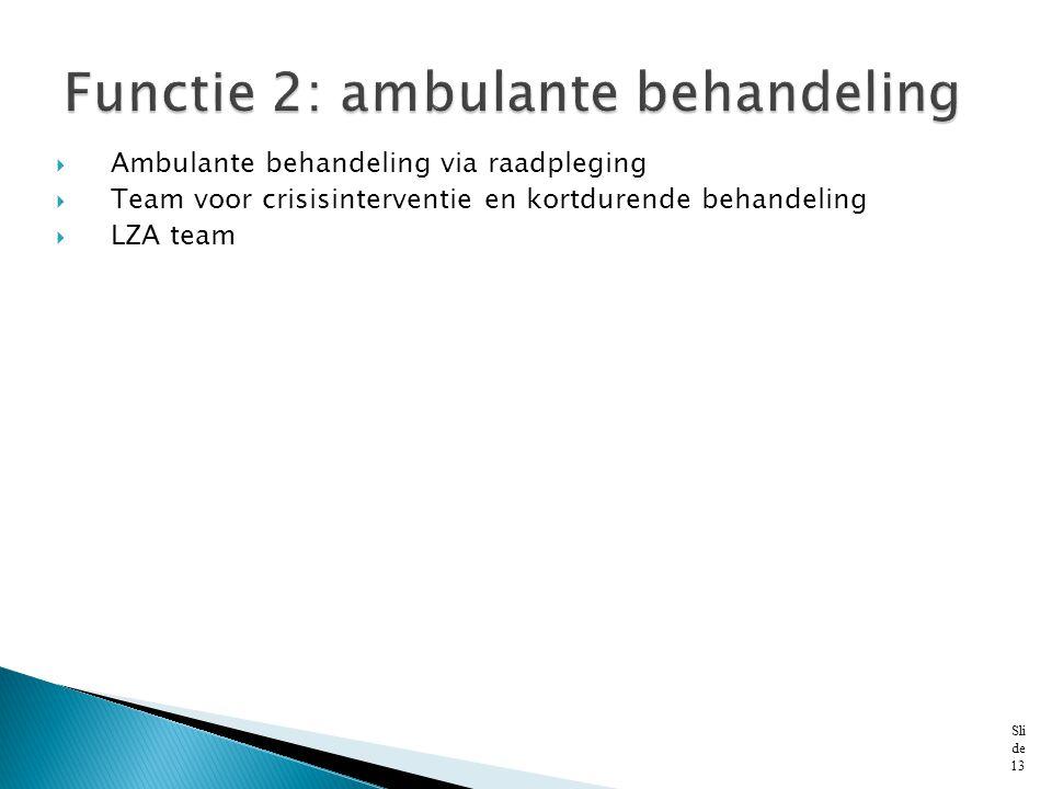 Functie 2: ambulante behandeling