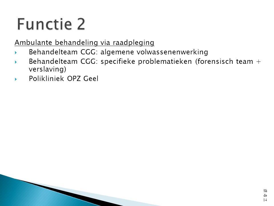 Functie 2 Ambulante behandeling via raadpleging