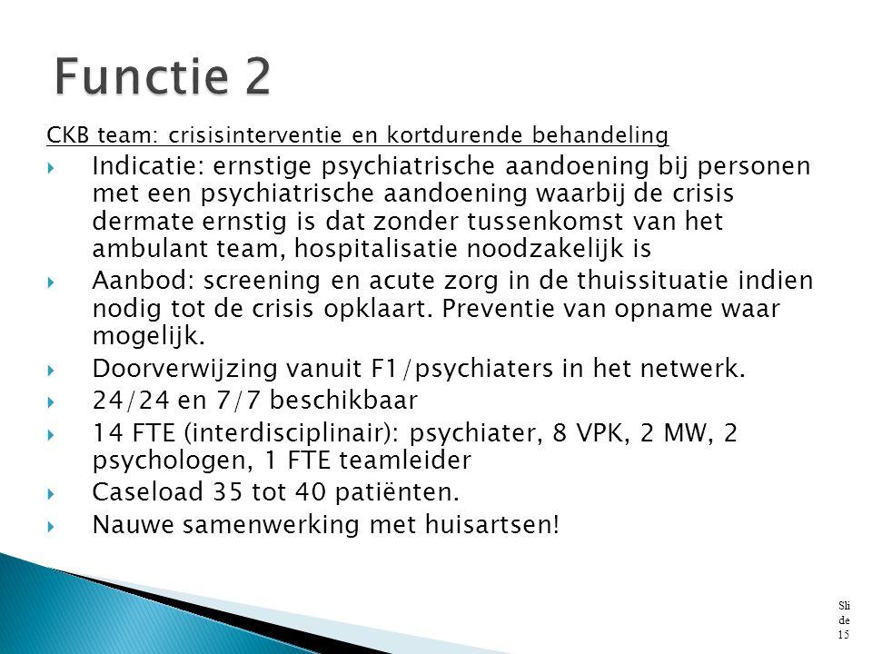 Functie 2 CKB team: crisisinterventie en kortdurende behandeling.