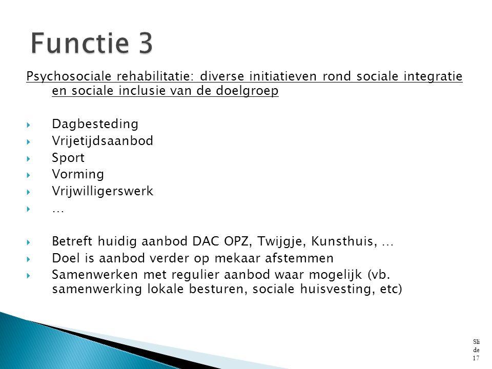 Functie 3 Psychosociale rehabilitatie: diverse initiatieven rond sociale integratie en sociale inclusie van de doelgroep.