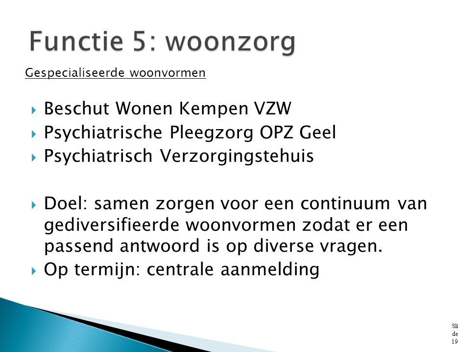 Functie 5: woonzorg Beschut Wonen Kempen VZW