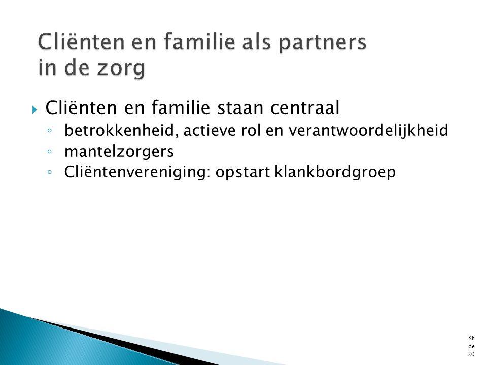 Cliënten en familie als partners in de zorg