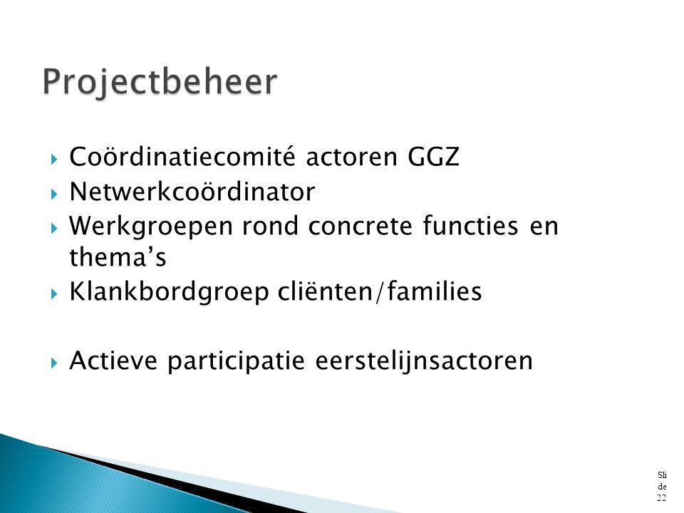 Projectbeheer Coördinatiecomité actoren GGZ Netwerkcoördinator