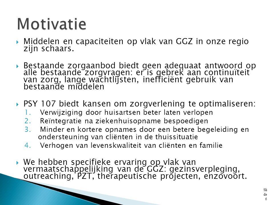 Motivatie Middelen en capaciteiten op vlak van GGZ in onze regio zijn schaars.
