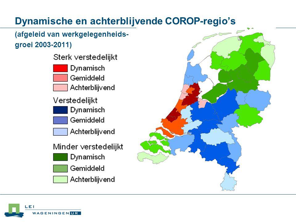Dynamische en achterblijvende COROP-regio's (afgeleid van werkgelegenheids- groei 2003-2011)