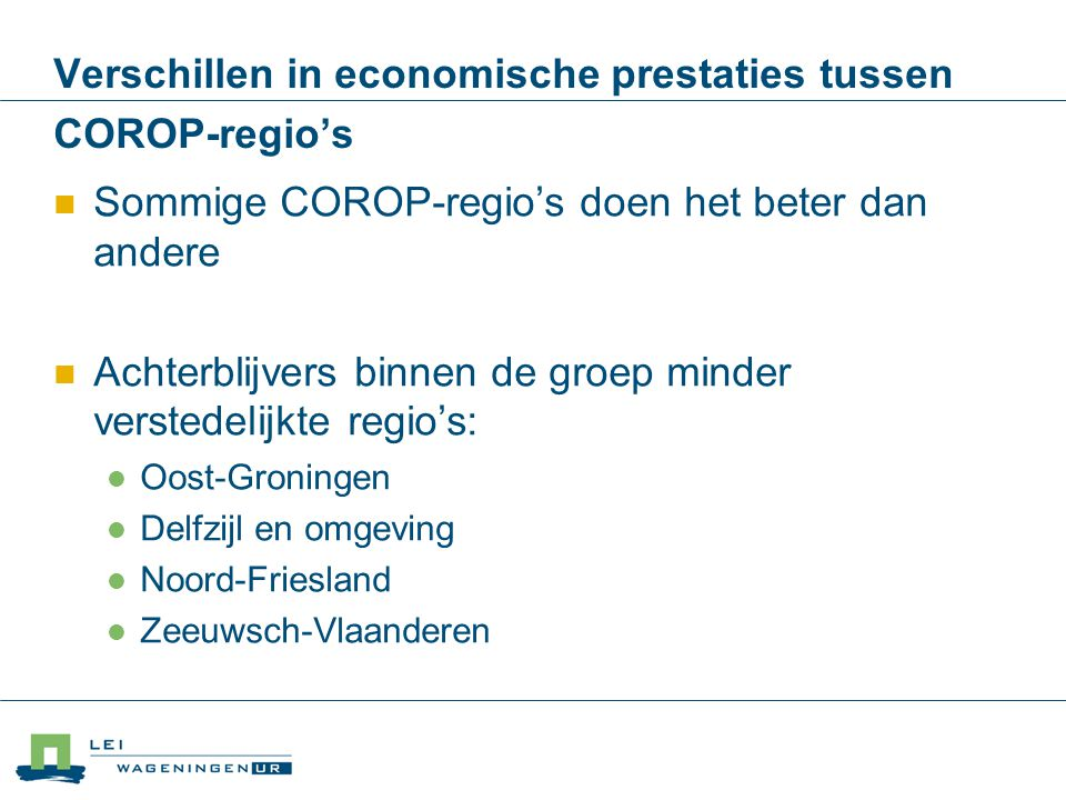 Verschillen in economische prestaties tussen COROP-regio's