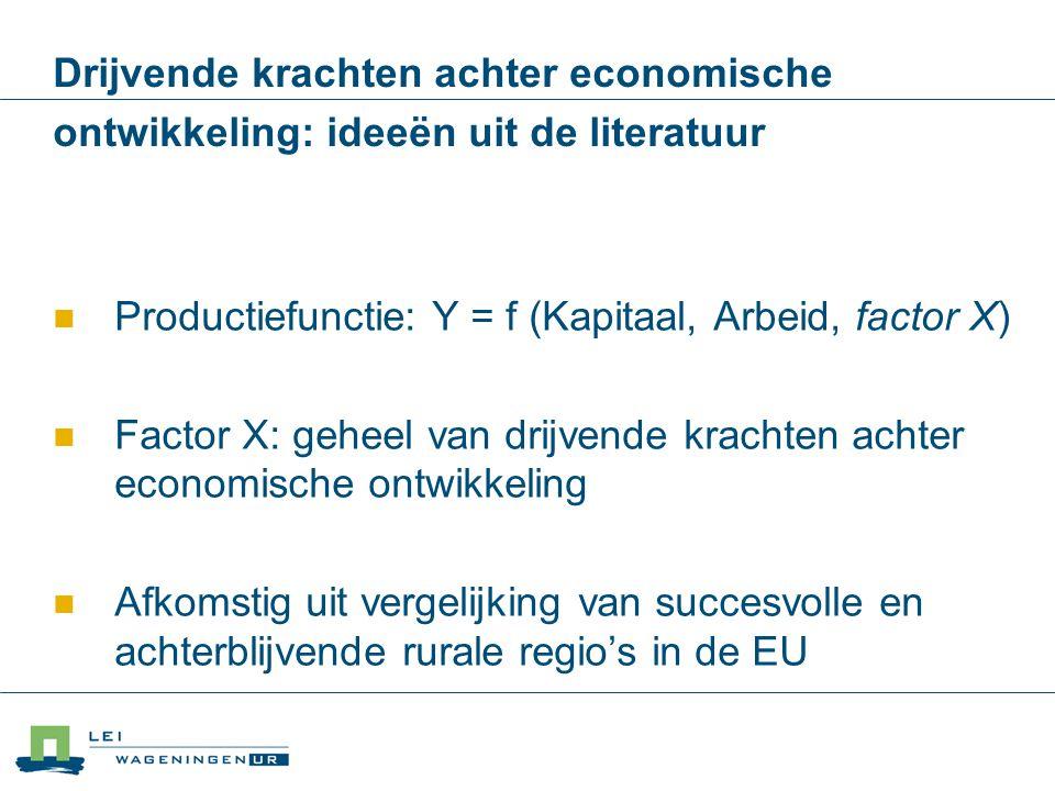 Productiefunctie: Y = f (Kapitaal, Arbeid, factor X)