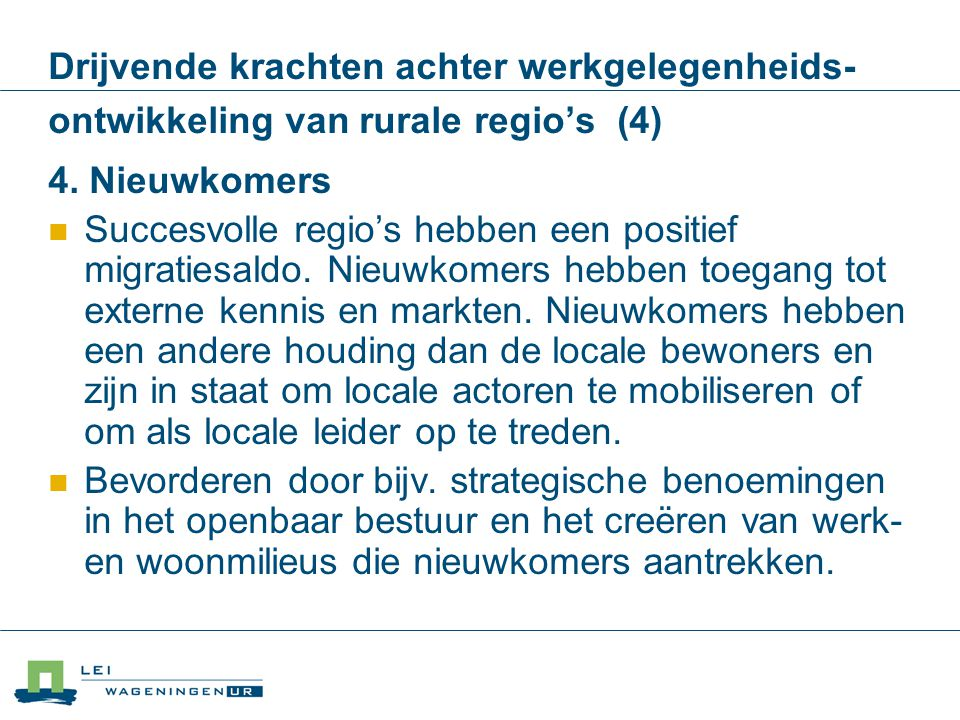 Drijvende krachten achter werkgelegenheids-ontwikkeling van rurale regio's (4)