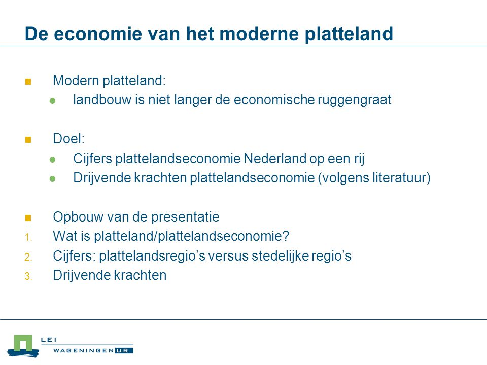 De economie van het moderne platteland