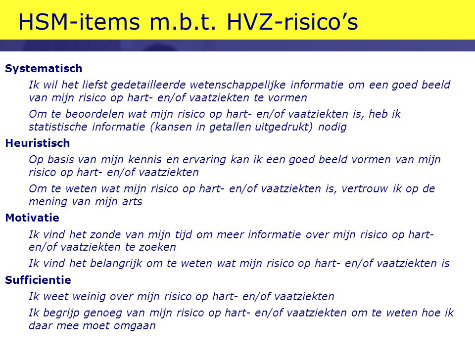 HSM-items m.b.t. HVZ-risico's