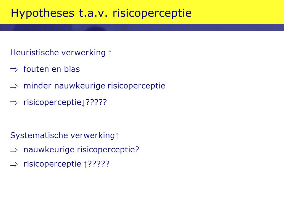 Hypotheses t.a.v. risicoperceptie