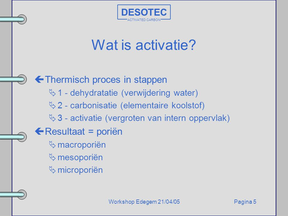 Wat is activatie DESOTEC Thermisch proces in stappen