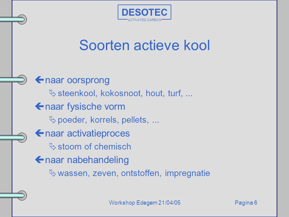 Soorten actieve kool DESOTEC naar oorsprong naar fysische vorm