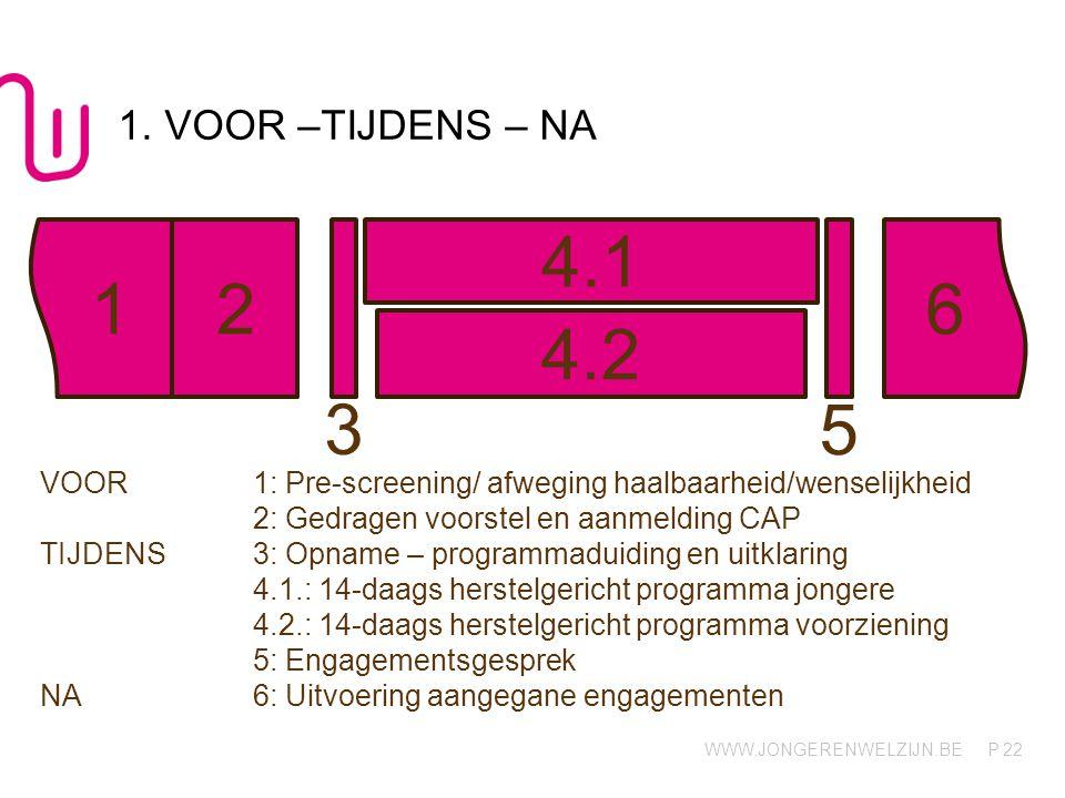 1. VOOR –TIJDENS – NA 4.1. 1. 2. 6. 4.2. 3. 5. VOOR 1: Pre-screening/ afweging haalbaarheid/wenselijkheid.