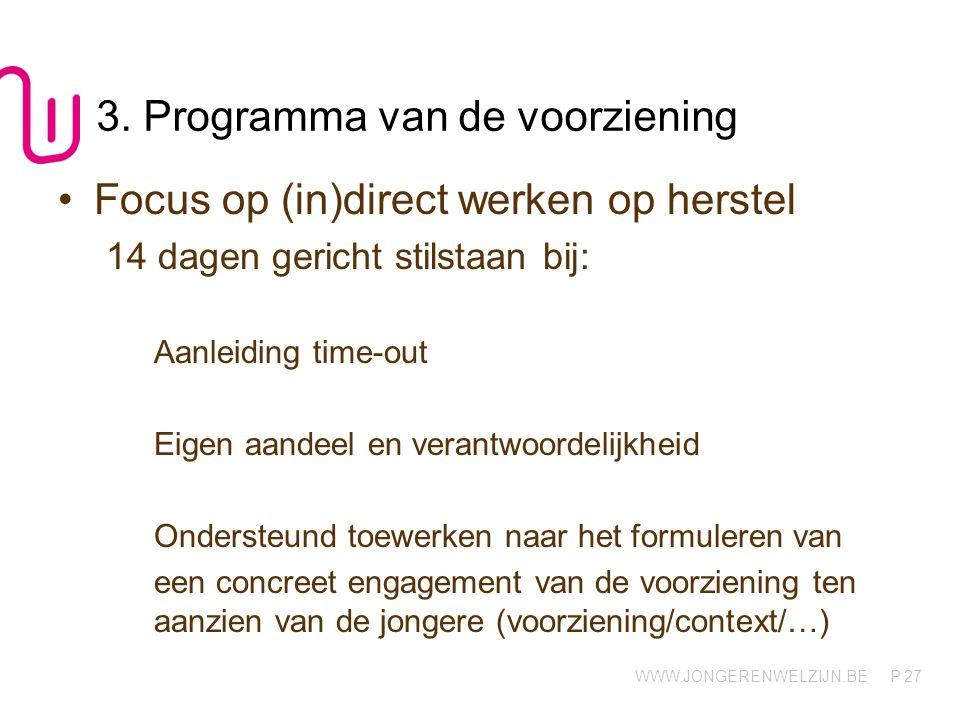 3. Programma van de voorziening