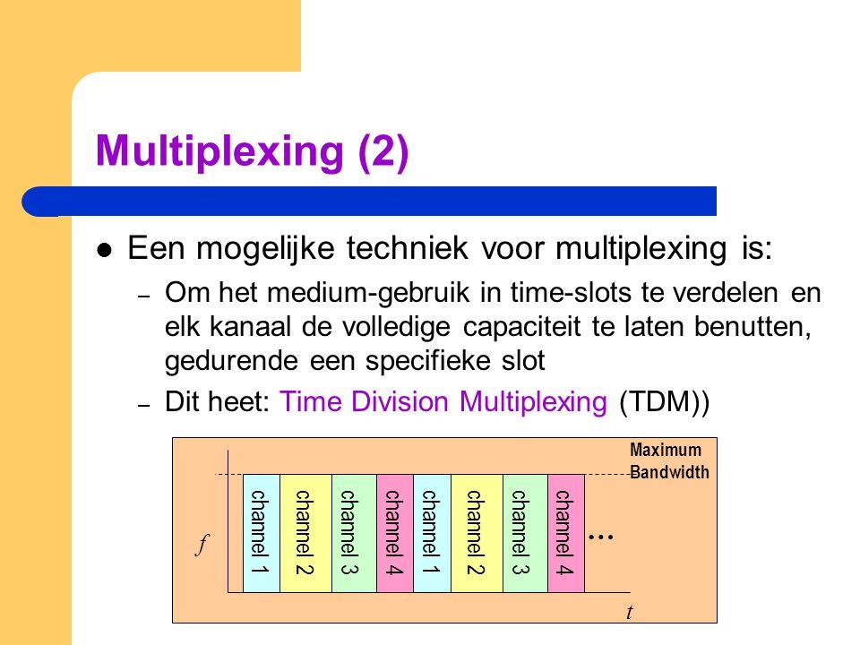 Multiplexing (2) Een mogelijke techniek voor multiplexing is: