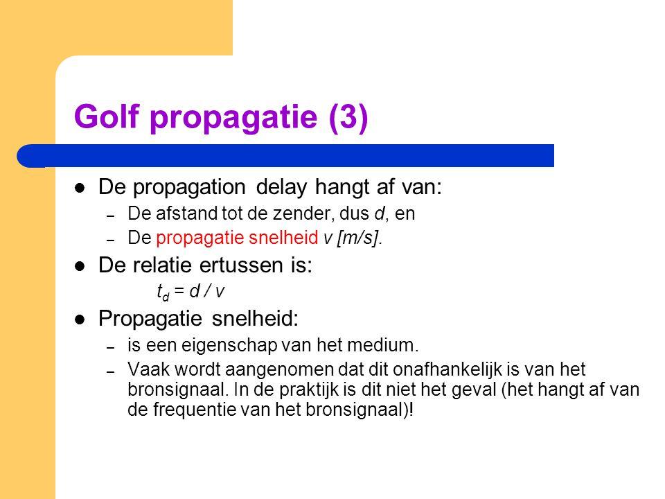 Golf propagatie (3) De propagation delay hangt af van:
