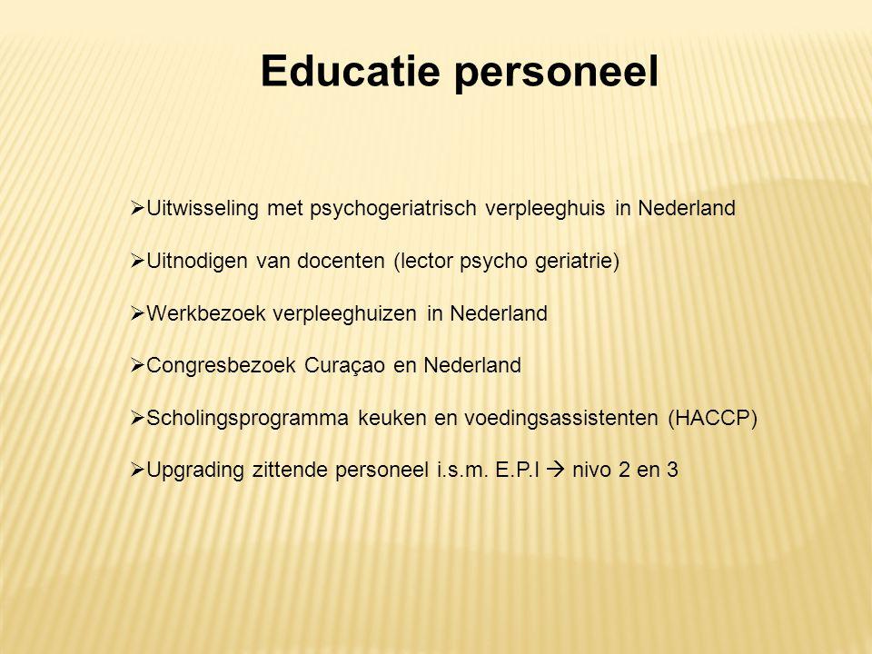 Educatie personeel Uitwisseling met psychogeriatrisch verpleeghuis in Nederland. Uitnodigen van docenten (lector psycho geriatrie)