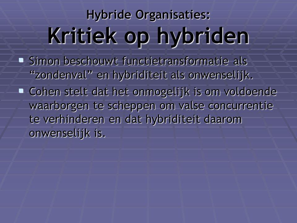 Hybride Organisaties: Kritiek op hybriden