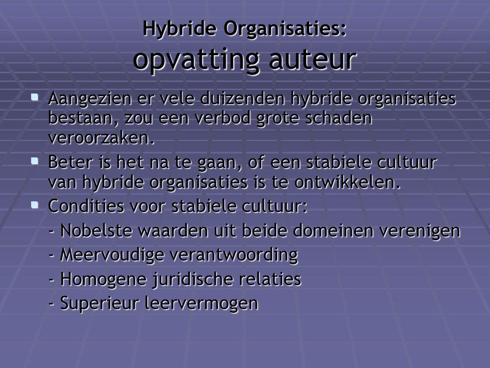Hybride Organisaties: opvatting auteur