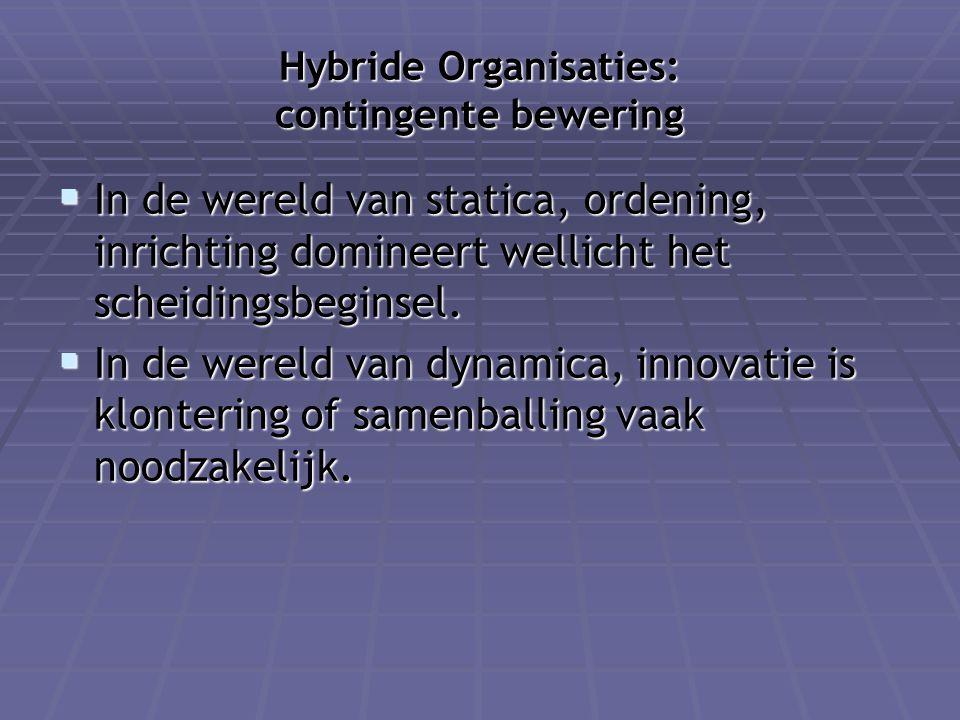 Hybride Organisaties: contingente bewering