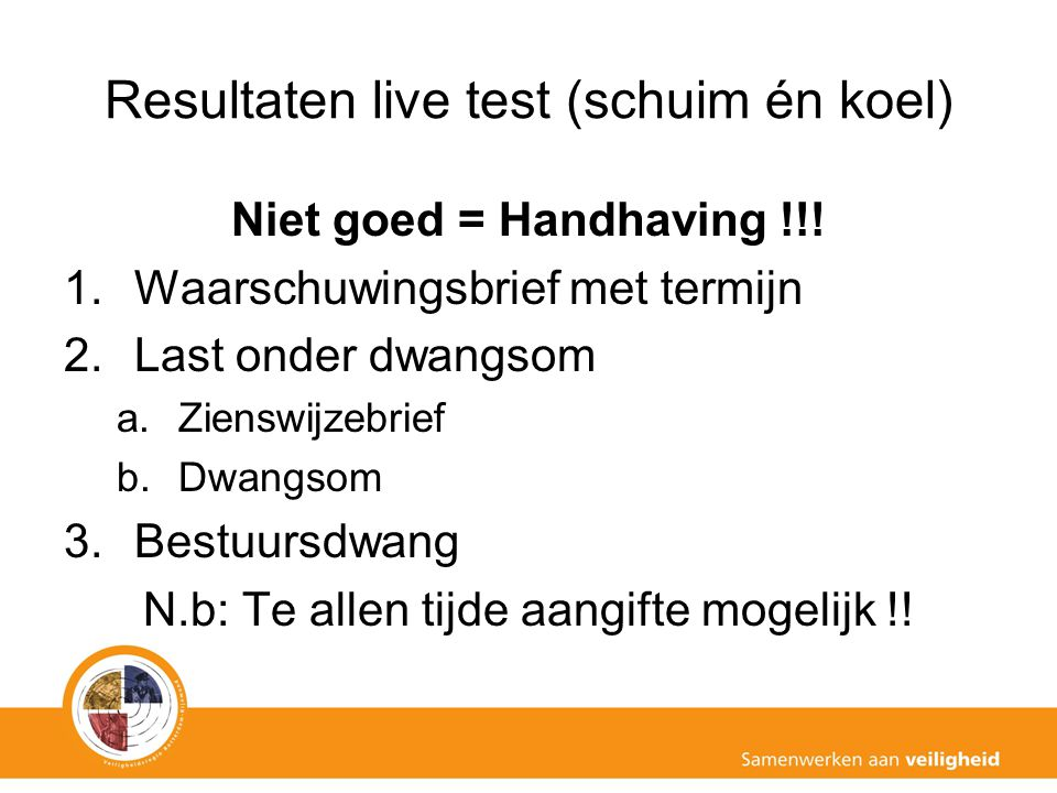 Resultaten live test (schuim én koel)
