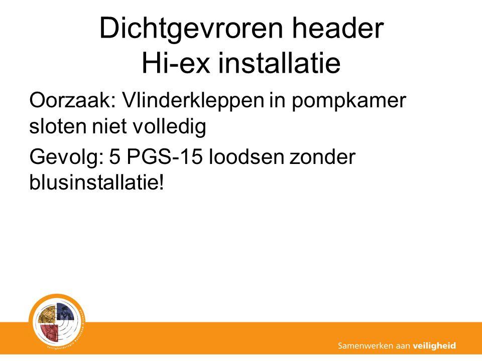 Dichtgevroren header Hi-ex installatie