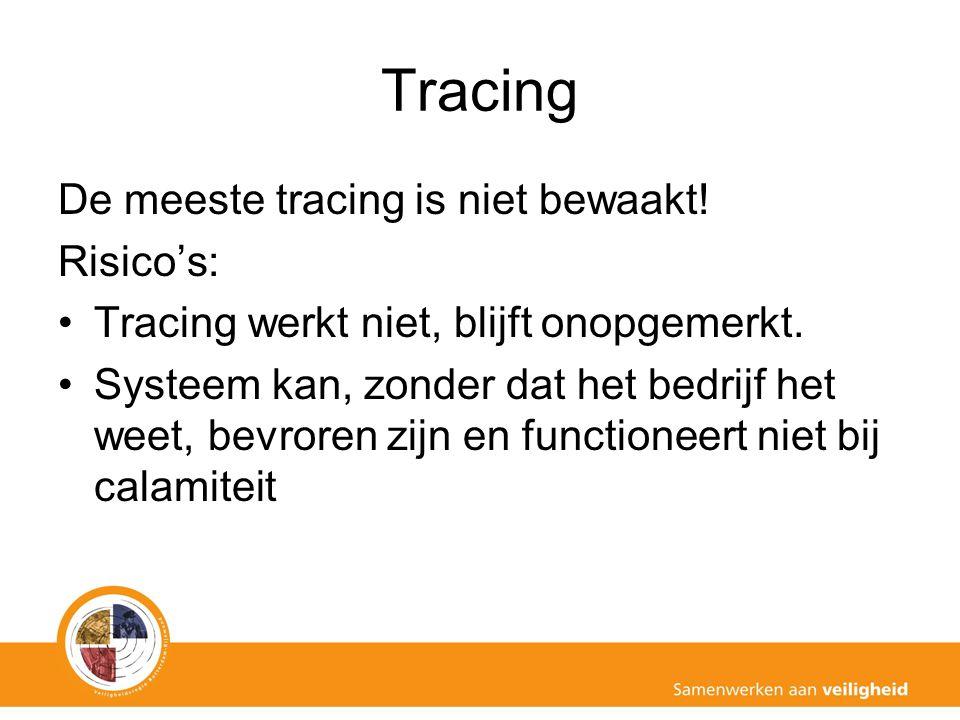 Tracing De meeste tracing is niet bewaakt! Risico's: