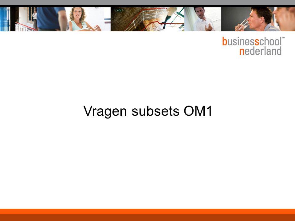 Titel presentatie Vragen subsets OM1 Gemeente Amsterdam 1 januari 2003